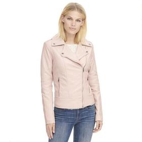 Designer Brand Faux-Leather Cycle Jacket w/ Quilte