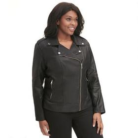 Plus Size Marc New York Faux-Leather Cycle Jacket
