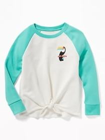 Tie-Front Embroidered-Graphic Raglan Sweatshirt fo