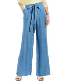 M Made in Italy Pull-On Tie Waist Wide Leg Tencel