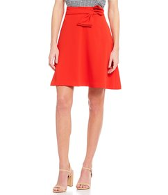 CeCe Moss Crepe Tie Side A-Line Skirt