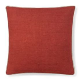 Solid Linen Pillow Cover with Gusset, Coral