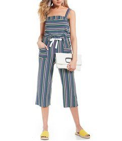 Copper Key Striped Crop Wide Leg Jumpsuit
