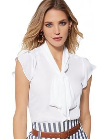Tulip-Sleeve Bow Blouse - 7th Avenue - New York &