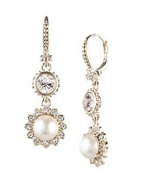 Marchesa Crystal & Faux Pearl Double Drop Earrings