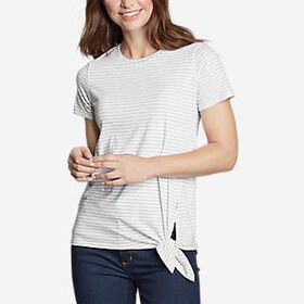 Women's Gate Check Short-Sleeve Side-Tie T-Shi