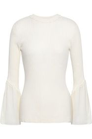 3.1 PHILLIP LIM Ruffle-trimmed ribbed silk and cot