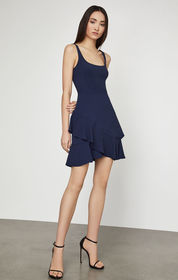 BCBG Sleeveless Asymmetrical Ruffle Dress