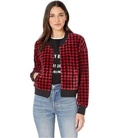 Juicy Couture Printed Check Stretch Bomber Jacket