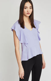 BCBG Lindley Ruffle-Shoulder Racerback Top
