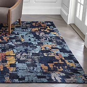 Crate Barrel Vasari Indigo Blue Abstract Rug