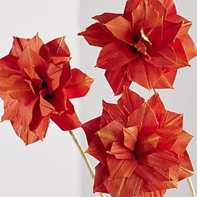 Crate Barrel New Artificial Orange Dahlia Flowers,