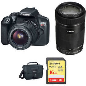 Canon EOS Rebel T6 DSLR Camera with 18-55mm and 55
