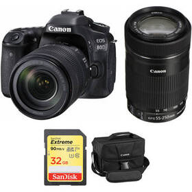 Canon EOS 80D DSLR Camera with 18-135mm and 55-250
