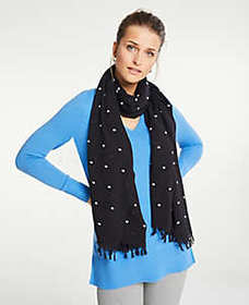 Embroidered Dot Tassel Scarf