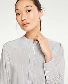 Shirred Button Down Blouse