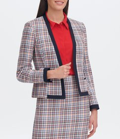 Tommy Hilfiger Contrast Trim Plaid Tweed Suiting O