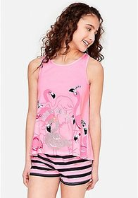 Justice Born to Stand Out Flamingo Pajama Set