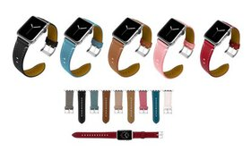 Genuine Leather Watch Strap Compatible with Apple