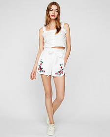 Express high waisted eyelet embroidered sash tie s