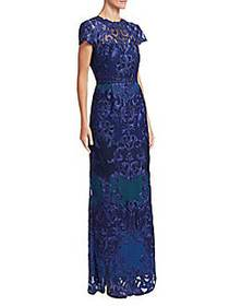 Marchesa Scroll Lace Gown COBALT