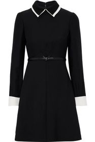 VALENTINO Belted wool and silk-blend mini dress