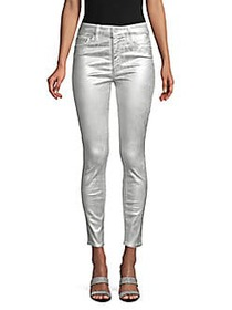 MOTHER High-Waist Ankle-Crop Metallic Jeans SILVER