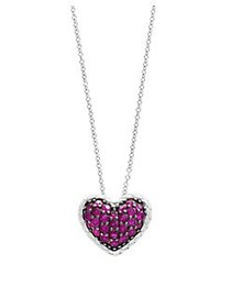 Effy Sterling Silver & Ruby Heart Pendant Necklace