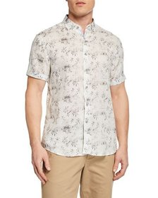 Report Collection Printed Linen Button-Front Shirt