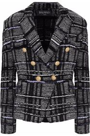 BALMAIN Double-breasted metallic checked knitted b