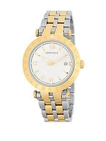 Versace V-Race Silver Dial Mens Two Tone Watch VCL
