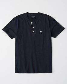 Contrast-Placket Icon Henley, NAVY BLUE