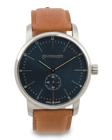 WENGER Men's Swiss Made Urban Classic Leather Stra