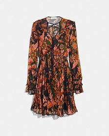 Coach forest floral print pleated dress with neckt