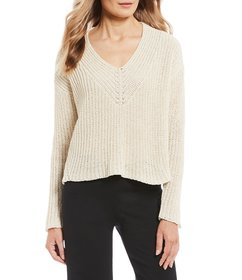 Eileen Fisher V-Neck Long Sleeve Box-Top