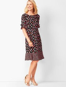 Talbots Floral Jewel-Neck Shift Dress