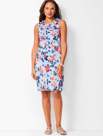Talbots Pleat-Neck Sheath Dress - Floral