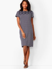 Talbots Embroidered Yoke Shift Dress - Stripe