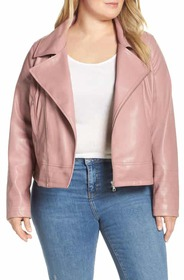 Halogen® Quilted Faux Leather Moto Jacket (Plus Si