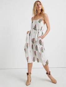 Lucky Brand Floral Woodblock Tiered Dress
