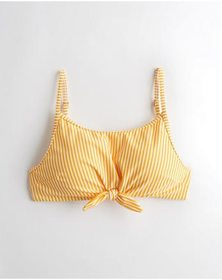 Hollister Knot-Front Crop Tank Bikini Top, YELLOW