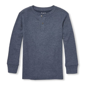 Boys Long Sleeve Button Placket Thermal Top