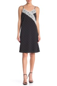 ONE ONE SIX Lace Trim Polka Dot Slip Dress