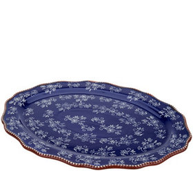 """""""As Is"""" Temp-tations Floral Lace 20"""" Oval Platter"""