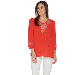 Belle by Kim Gravel Embroidered Stretch Top - A303