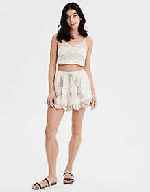 American Eagle AE Embroidered Corset Crop Top