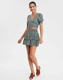 American Eagle AE Short Sleeve Wrap Front Crop Top