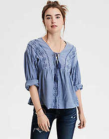 American Eagle AE Lace Up Long Sleeve Blouse
