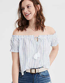 American Eagle AE Striped Off-The-Shoulder Top