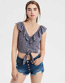 American Eagle AE Ruffle Tie Front Shell Top